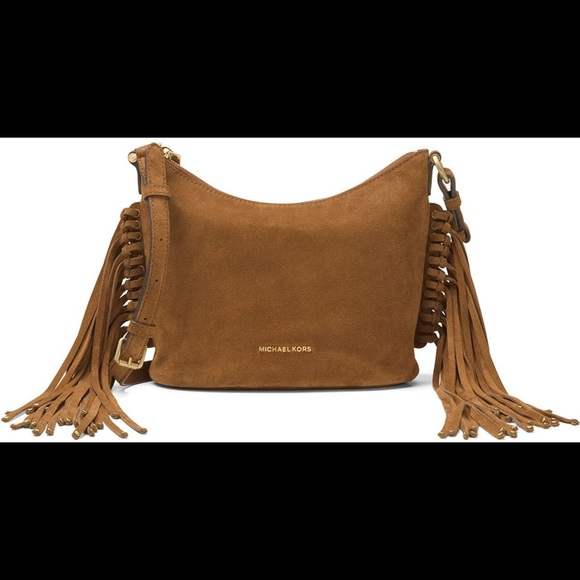 3445a21eb246 New Michael Kors Billy Fringe Messenger Caramel